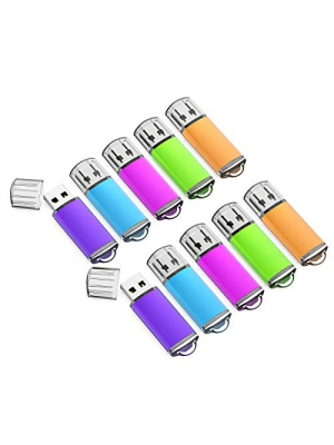 K&ZZ 10 Pack 16GB USB Flash Drive USB 2.0 Memory Stick Thumb Drives (Mixed Colors: Blue Green Pink Purple Orange)