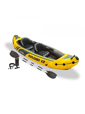 Intex Explorer K2 Yellow 2 Person Inflatable Kayak with Aluminum Oars & Air Pump