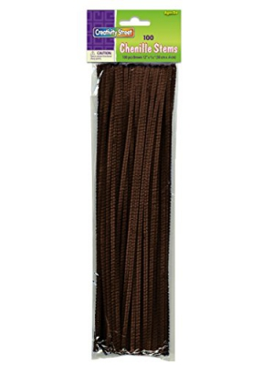 Creativity Street Chenille Stems/Pipe Cleaners 12 Inch x 4mm 100-Piece, Brown