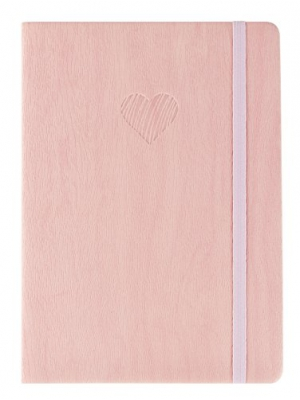 "Red Co Journal with Embossed Heart, 240 Pages, 5""x 7"" Lined, Pink"