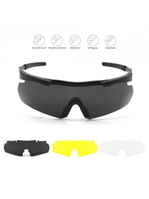 Elemart Tactical Eyewear Eyeshield Polarized UV400 Protective Shooting Safety Glasses Kit w/ 3 Lenses for Shooting Driving Fishing Running and More