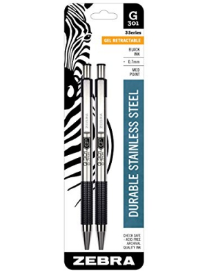 Zebra G-301 Stainless Steel Retractable Gel Pen, Medium Point, 0.7mm, Black Ink, 2-Count
