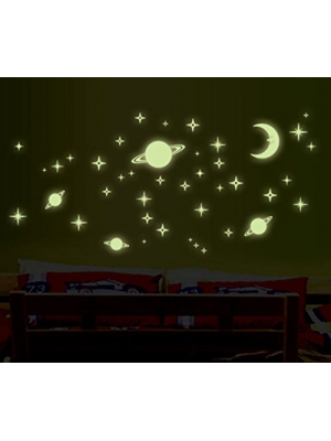 Glow in the Dark Stars Wall Stickers Set - 254 PCS Adhesive Stars & Moons Decals Great for Kids Bedding Room, Nursery