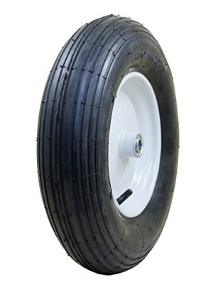"Marathon 4.80/4.00-8"" Pneumatic (Air Filled) Tire on Wheel, 3"" Hub, 3/4"" Bearings, Ribbed Tread"