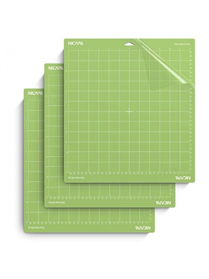 Nicapa Cutting Mat for Cricut Explore One/Air/Air 2/Maker [Standardgrip,12x12 inch,3pack] Adhesive&Sticky Non-Slip Flexible Gridded Vinyl Green Cut Mats Replacement Craft Accessories Set Matts