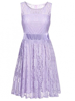 ANGVNS Women's Floral Lace Dress O-neck Sleeveless Bridesmaids Dress Short Prom Dress