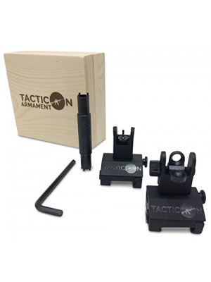 TACTICON Flip Up Iron Sights For Rifle Includes Front Sight Adjustment Tool | Rapid Transition Backup Front And Rear Iron Sight BUIS Set Picatinny Rail And Weaver Rail
