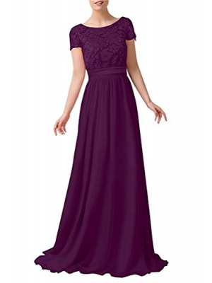 CaliaDress Women Short Sleeves Long Bridesmaid Dress Evening Gowns C230LF