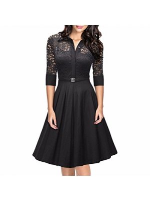 Samtree Women's Vintage 3/4 Sleeve A-line Cocktail Party Floral Swing Lace Dress