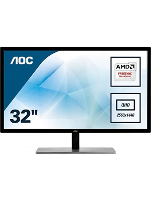 "AOC Q3279VWFD8 31.5"" QHD 2560x1440 Monitor, 10-Bit IPS Panel, 4ms, 75Hz, Freesync, DisplayPort/HDMI/DVI-D/VGA, Flickerfree"