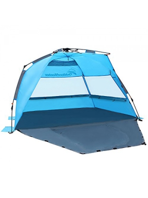 OutdoorMaster Pop Up Beach Tent - Easy to Set Up, Portable Beach Shade with SPF 50+ UV Protection for Kids & Family