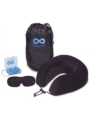 Everlasting Comfort 100% Pure Memory Foam Neck Pillow Airplane Travel Kit With Ultra Plush Velour Cover, Sleep Mask and Earplugs