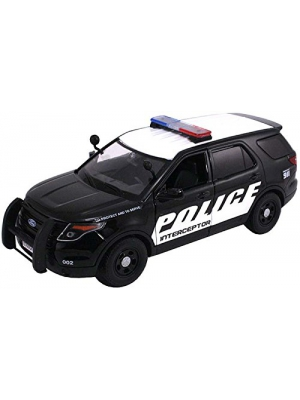 2015 Ford Interceptor Police Car Black/White 1/24 by Motormax 76954