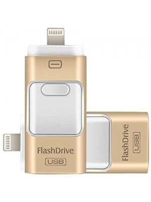 256GB USB Flash Drives, for iPhone [3-in-1] Lightning OTG Jump Drive, iPad Memory Stick, iOS External Storage Expansion for iOS Android PC Laptops (256GB, Gold)