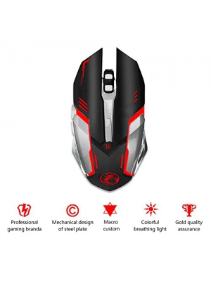 Mictech V8 Mouse 4000DPI led optical mouse 6D USB Wired Professional Gaming Mouse for PC Laptop Upgrade V6 (black)