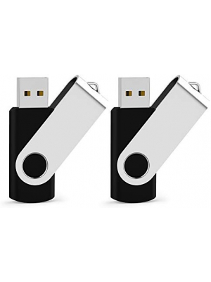 USB Flash Drive 32GB 2 Pack USB 2.0 Thumb Drive Jump Drive Fold Storage Memory Stick Swivel Design,Black