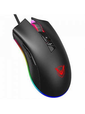 PICTEK Gaming Mouse Wired, 16.8 Million RGB Color Backlit, 10,000 DPI Adjustable, 8 Programmable Buttons, Ergonomic Comfortable Grip Optical Computer PC Gaming Mice with Fire Button - Black