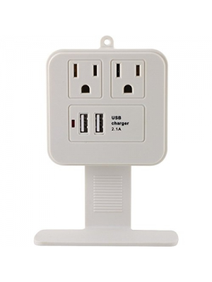 GE 14627 2-Outlet Surge Protector Wall Tap with Phone Shelf & 2.1A USB Ch...