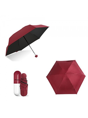 Ultra Lights and Small Mini Umbrella ( 6.7 inch 0.44 lb ) with Cute Capsule Case , 5 Folding Compact Pocket Umbrella for Women