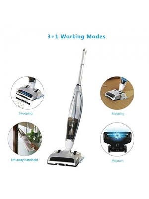 EVERTOP 3-in-1, 3+1 Lift-Away Cordless Rechargeable Powerful Suction Upright Vacuum Cleaner-Sweeping,Vacuuming, Mopping with Water Tank, Taken-out Handheld Vacuuming. Silver Color