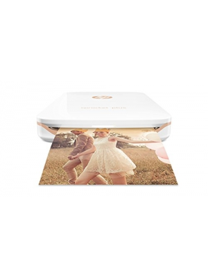 "HP Sprocket Plus Instant Photo Printer, Print 30% Larger Photos on 2.3x3.4"" Sticky-Backed Paper – White (2FR85A)"