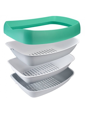 "Luuup Litter Box - 3 Sifting Tray Cat Litter Box is Antimicrobial and Easy to Clean with Non-Stick Coating - Stylish, High-Sided Design with Spill Guard (15.4""x20.2""x7.5"")"