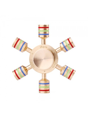 iSpin Original Spinner Pure Brass Hand Fidget Spinner Luxury Quality Premium SS R188 Bearing, Help Focus and Reduce Stress Spins 3-5 Minutes