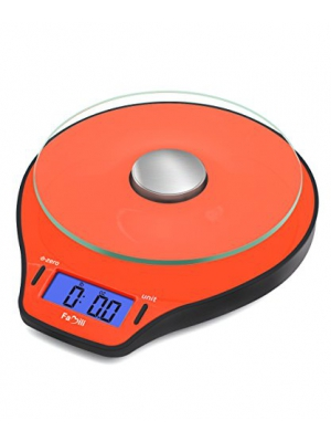 Famili FM206OB Digital Kitchen Food Electronic Cooking Scale, 11lb 5kg , Orange