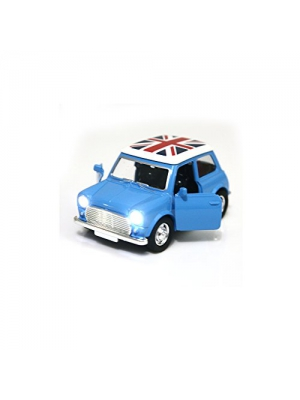 Toy Diecast Car Play Vehicles, Pull Back Action with Lights and Sounds 1:38 - iPlay, iLearn (Blue)