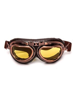LEAGUE&CO Vintage Aviator Pilot Sports Motorcycle Cruiser Scooter Goggle, Half Helmet Goggles, Windproof glasses (Amber)