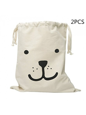 2PCS Toy Storage Bag Bear Pattern Organizers for Kids Toys, Baby Clothing, Children Books, Gift Bag