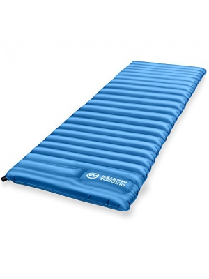 OutdoorMaster Deluxe Sleeping Pad - Easy Inflatable with Built-in Foot Pump, Extra Thick and Roomy - for Hiking, Camping, Backpacking