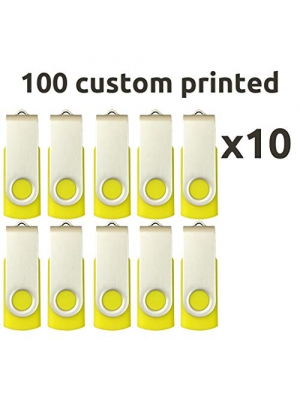 Enfain Promotional USB Flash Drive 32GB Bulk Pack of 100, Yellow