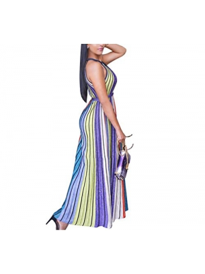 Long Dresses For Women Casual Sexy Sleeveless Color Striped Evening Multicolor Printed