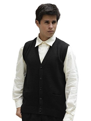 Men's Soft Alpaca Wool Knitted V Neck Sweater Button Down Golf Vest