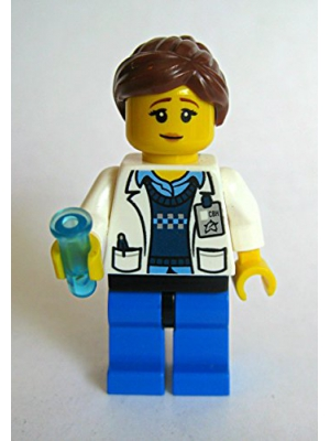 Lego Female Scientist Minifigure with Custom Blue Test Tube