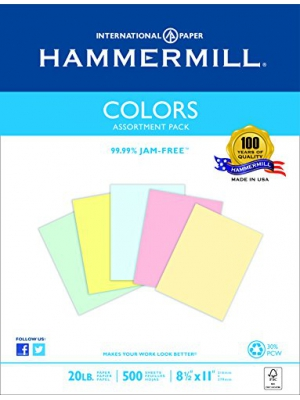 Hammermill Paper, Colors Assorted, Blue, Pink, Canary, Green, Ivory , 20lb., 8.5x11, Letter, 500 Sheets/1 Ream, (102120R), Made In The USA