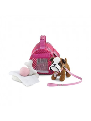 18 Inch Doll Accessories | Adorable Pink Pet Carrier and Bulldog Puppy Dog with Leash, Collar and Dog Tag, Includes Plush Pet Bed, Blanket, Bone and Ball | Fits American Girl Dolls