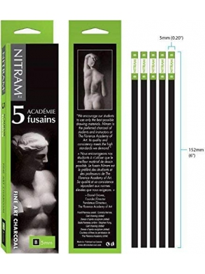Nitram Academie Charcoal B Soft 5 Sticks