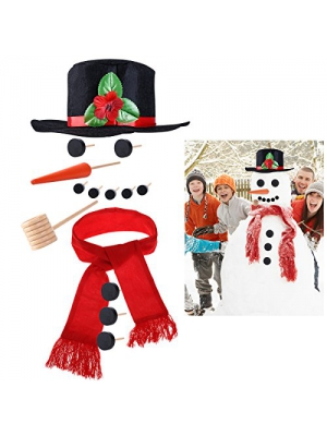 iBaseToy Snowman Making Kit - Includes Hat Scarf Carrot-Nose Tobacco Pipe and Black Dots for Eyes Mouth Buttons