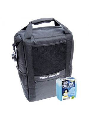 Polar Bear Coolers Nylon Series Backpack Size 18 Pack Black & Fit & Fresh Cool Coolers Slim Ice 4-Pack (Bundle)
