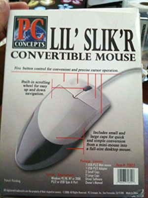 Convertible Mouse - Small to Big in Seconds - BOTH USB & PS/2 Connections!! 5 Button w/ Scroll Wheel - Goes from a Small Mouse to Normal Size by Snaping On Cover - Great for Laptop and Desktop Users -
