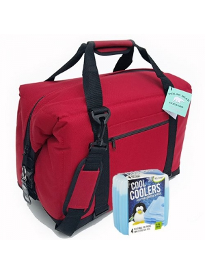 Polar Bear Coolers Nylon Series Soft Cooler Tote Size 24 Pack Red & Fit & Fresh Cool Coolers Slim Ice 4-Pack (Bundle)