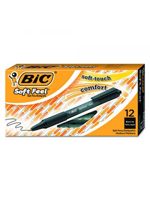 BIC Soft Feel Retractable Ballpoint Pen, Medium Point, Black, 12-Count