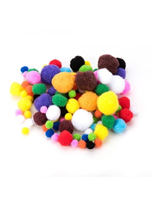 PandaHall Elite 10mm to 30mm Mixed Sizes Multicolor Assorted Pom Poms Balls About 550pcs for DIY Doll Craft Party Decoration