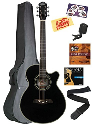 Oscar Schmidt OG10CE Concert Cutaway Acoustic-Electric Guitar Bundle with Gig Bag, Austin Bazaar Instructional DVD, Clip-On Tuner, Strap, Strings, Picks, and Polishing Cloth - Black