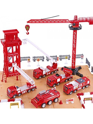 iPlay, iLearn Fire Truck Play Set, Firefighting Engine, Emergency Rescue Vehicles w/ Station, Extending Ladder, Educational Learning Toys, Gift for 2, 3, 4, 5, 6 Year Old Boys, Girls, Toddlers, Kids