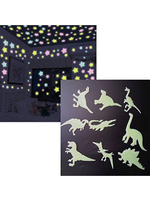 Luminous Wall Stickers Glow in the Dark Wall Decals 100pcs Stars and 9pcs Dinosaurs,for Kids Rooms Home Decor