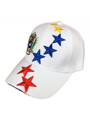 White Baseball Hat with Tricolor Stars from Venezuela