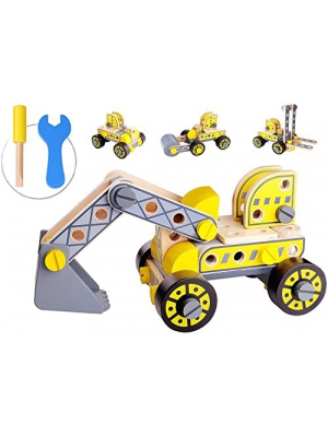 Pidoko Kids Take Apart Toys with Tools (84 Pcs) - STEM Learning Toy Construction Vehicles Bulldozer Forklift - Educational Engineering Wooden Building Play Set For Boys & Girls Toddlers Age 3 and up